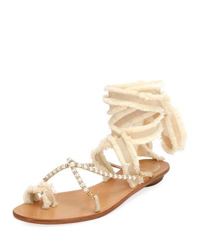 e17b73e962b19 Rene Caovilla Pearlescent Ribbon Flat Sandal
