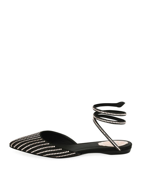 Beaded d'Orsay Ankle-Coil Flat