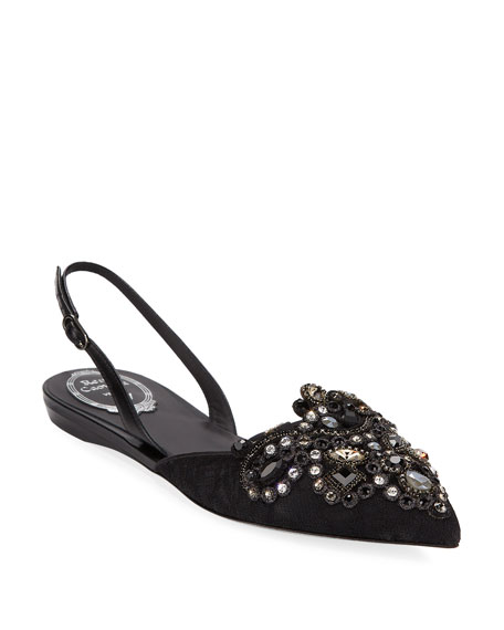 Embroidered Halter Slingback Flat, Black/Gray