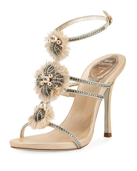 Rene Caovilla Embellished Triple-Strap Sandal