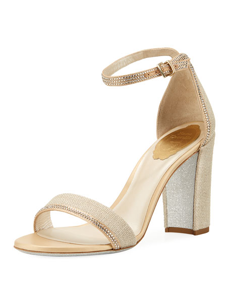 Crystal-Trim Satin Block-Heel Sandal