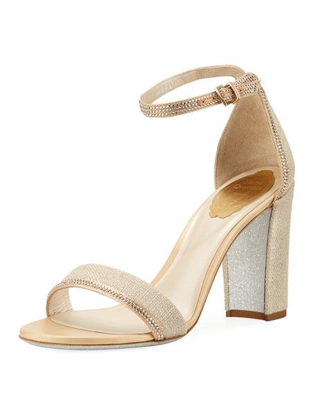 Rene Caovilla Crystal-Trim Satin Block-Heel Sandal