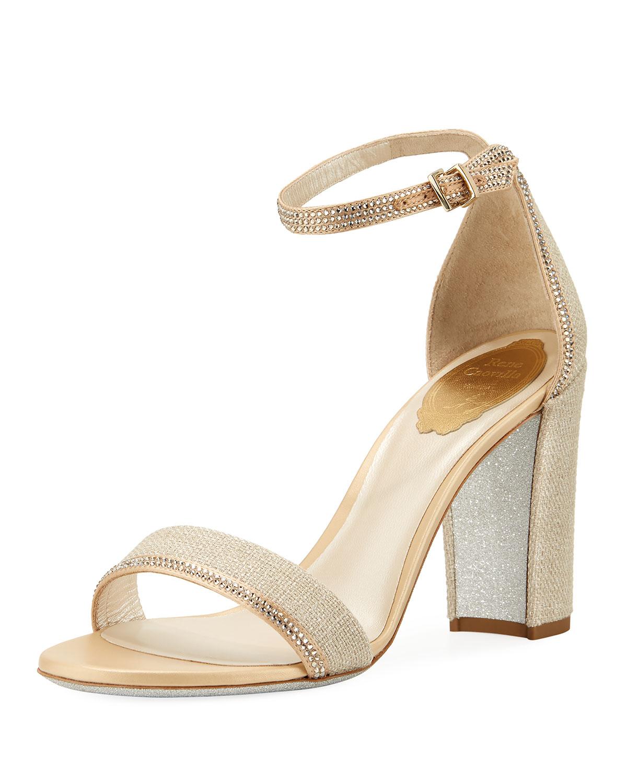 03f12532c Rene Caovilla Crystal-Trim Satin Block-Heel Sandal