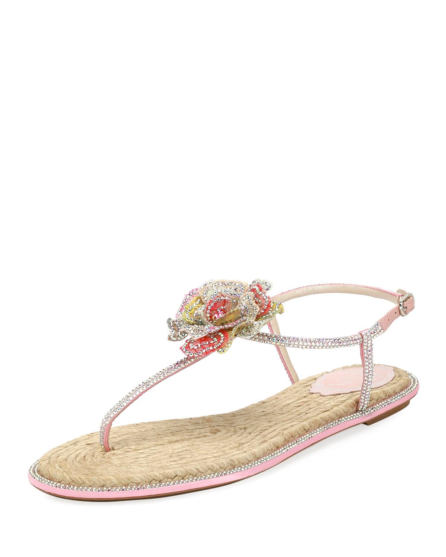 dc9c8af061fee5 Rene Caovilla Crystal-Embellished Floral Flat Sandal