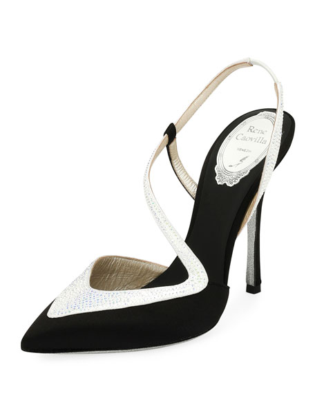 Rene Caovilla Asymmetric Satin 110mm Pump