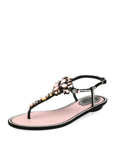 Embellished Leather Flat Sandal