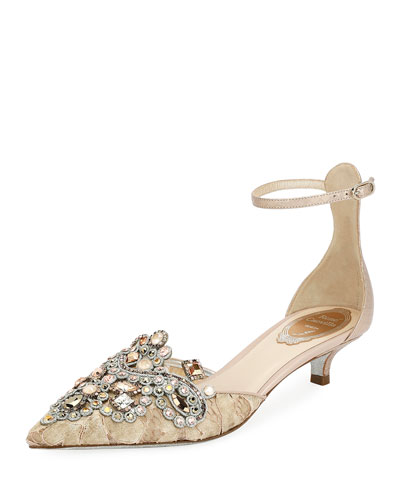 Embellished Lace 35mm Pump