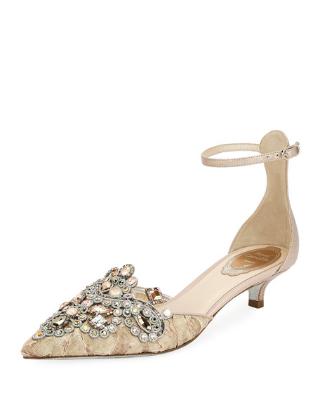Rene Caovilla Embellished Lace 35mm Pump
