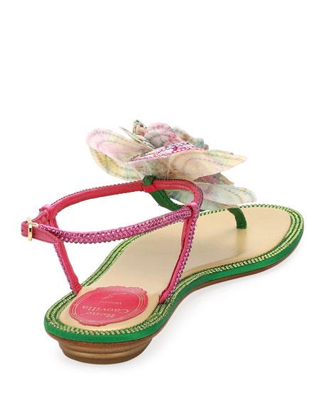 Embellished Leather Flat Sandal w/ Flower