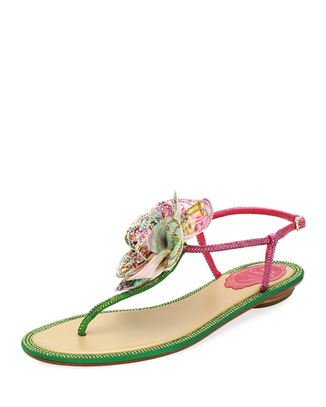 Rene Caovilla Embellished Leather Flat Sandal w/ Flower
