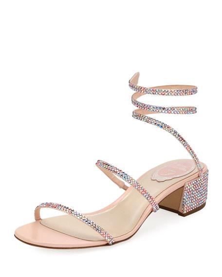 Rene Caovilla Snake-Coil Satin Chunky-Heel Sandal