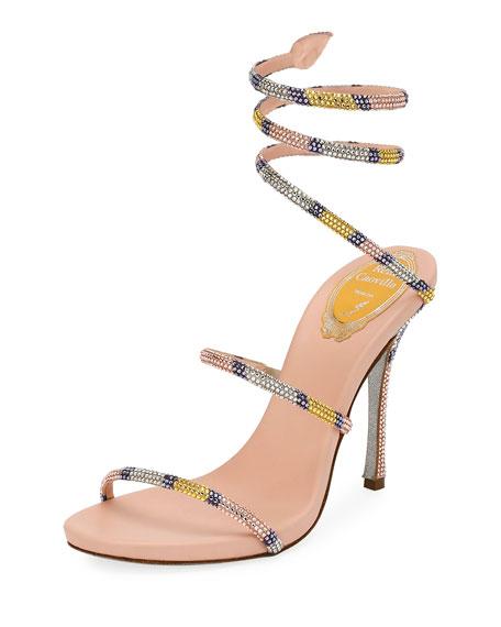 Rene Caovilla Crystal Snake-Coil 105mm Sandal