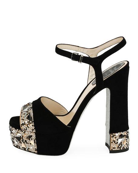 Embellished Suede Platform Sandal