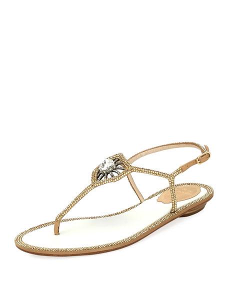 Rene Caovilla Embellished Satin Flat Thong Sandal
