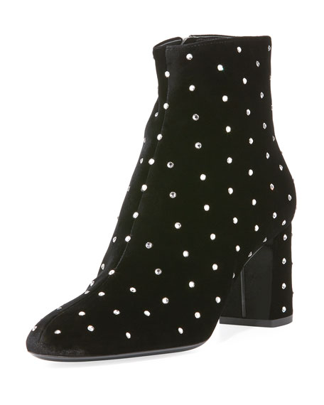 Lou Lou Velvet Crystal-Dot Booties