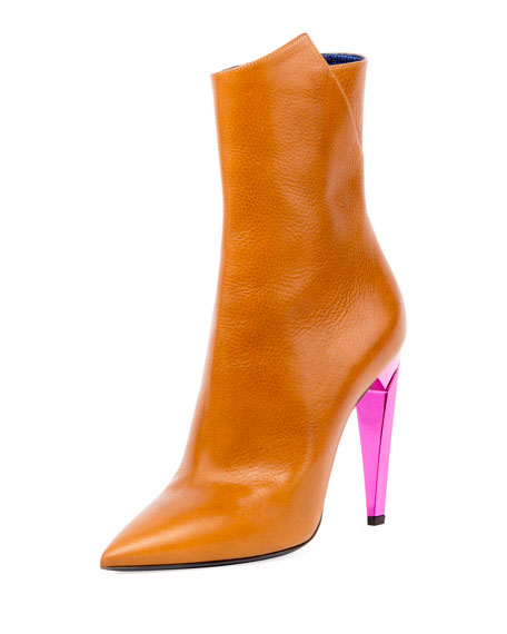 Freja Leather Spike-Heel Bootie