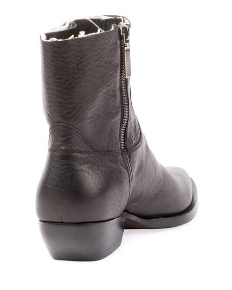 Theo Eli Leather Zip Ankle Boot