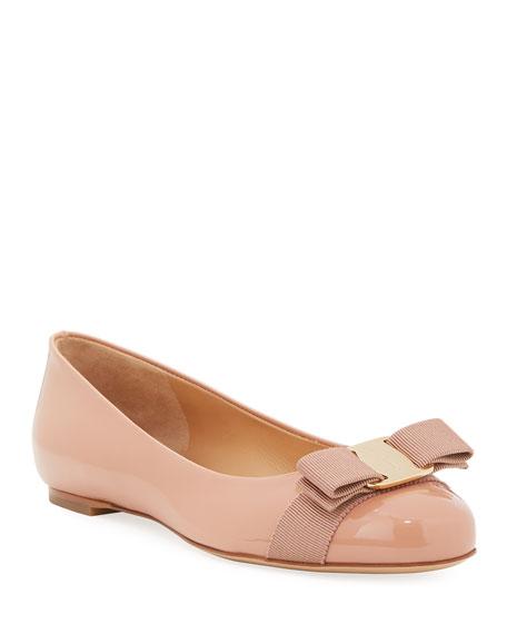 Salvatore Ferragamo Patent Ballerina Flat, New Blush