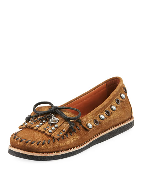 Coach Roccasin Embellished Metallic Moccasin