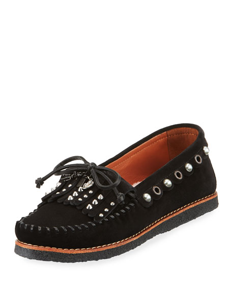 Coach Roccasin Embellished Suede Moccasin