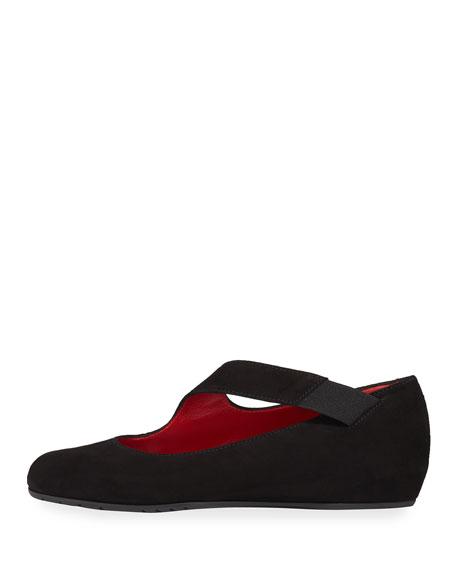 Rian Asymmetric Comfort Wedge Flat, Black