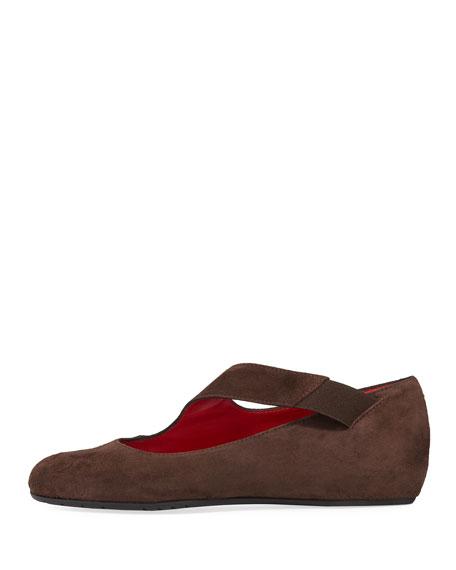 Rian Asymmetric Comfort Wedge Flat, Dark Brown