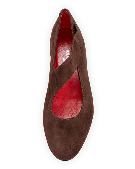 Rian Asymmetric Comfort Wedge Flat, Dark Brown