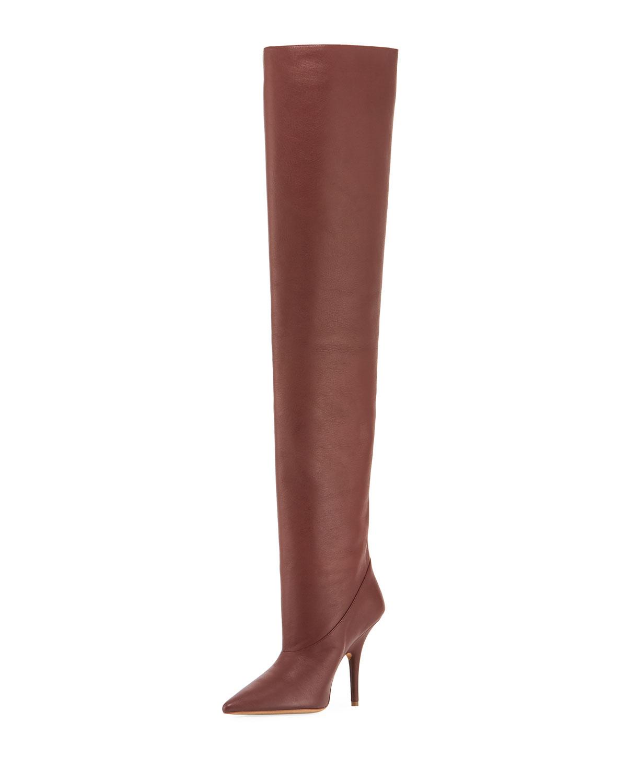 02f4462eb750c Yeezy Women s Leather Tubular Over-The-Knee Boot