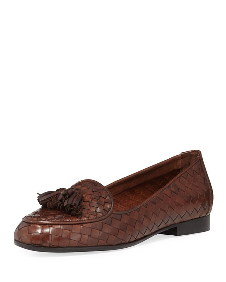 Sesto Meucci Nash Woven Tassel Loafer, Dark Tan