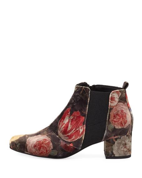 Ondine Floral Velvet Bootie