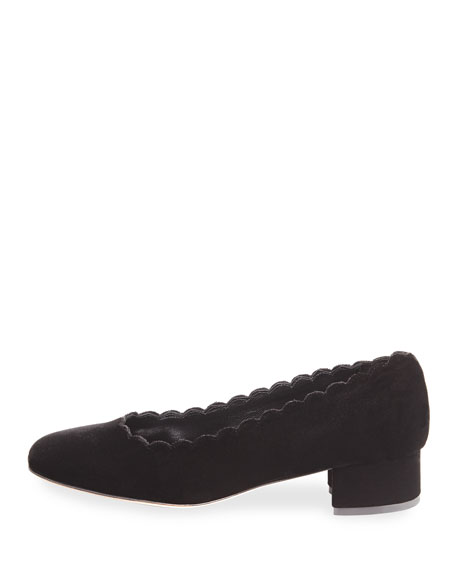 Hali Scallop Velvet Pump, Black
