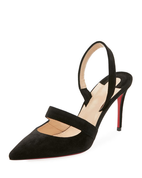 Christian Louboutin Actina Cutout Suede Red Sole Pump