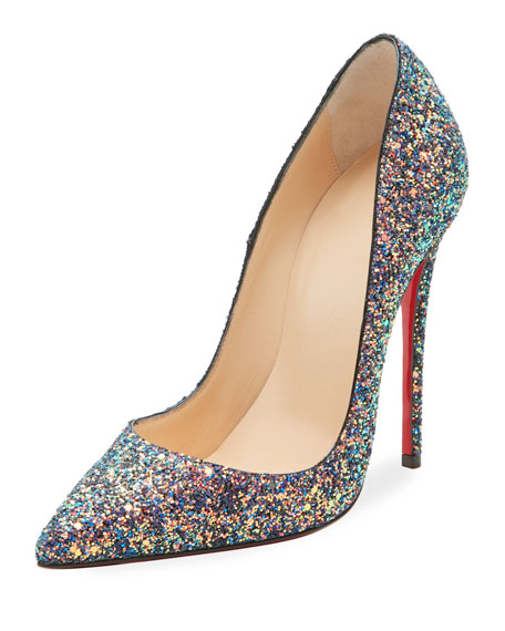 Christian Louboutin So Kate Glittered 120mm Red Sole