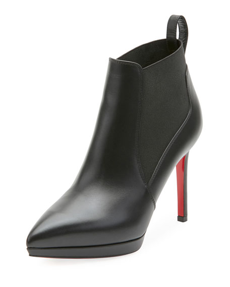 Crochinetta Platform Red Sole Booties, Black