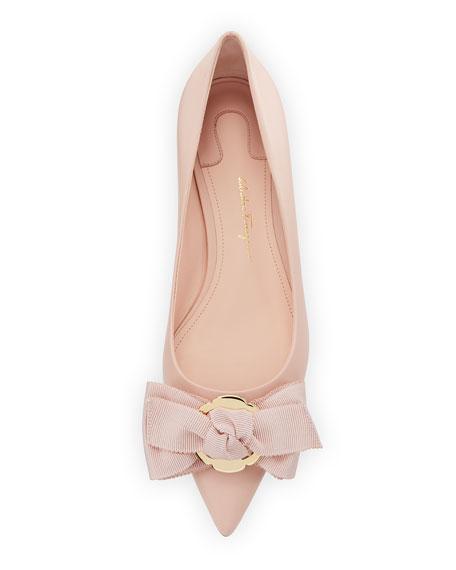 Talla Flower-Heel Ballet Flats with Fringe Bow, Pink (Bonbon)