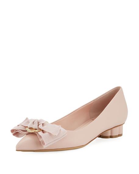 Salvatore Ferragamo Flower-Heel Ballet Flat with Fringe Bow,