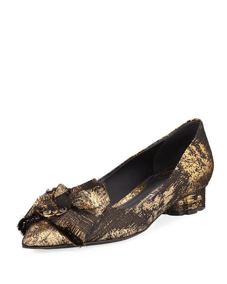Salvatore Ferragamo Metallic Jacquard Bow Ballerina Flat,