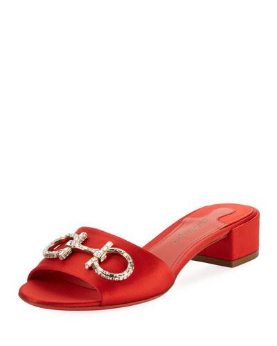 Satin Slide Sandal with Gancini Bit