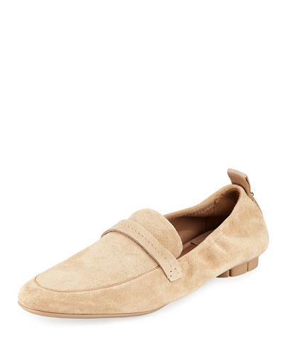 Lipari Loafer with Tonal Flower Heel, Almond Suede