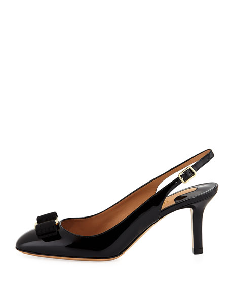 Ortigia Slingback Pumps with Signature Vara Bow, Black Patent