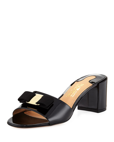 Patent Block-Heel Slide Sandal, Black