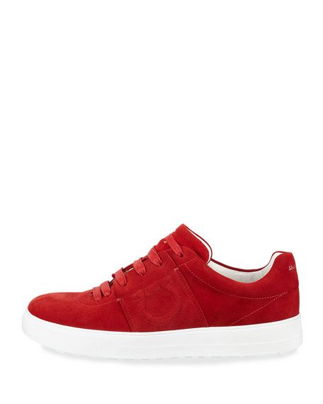 Fasano Suede Platform Sneakers with Embossed Gancio Logo, Lipstick Red