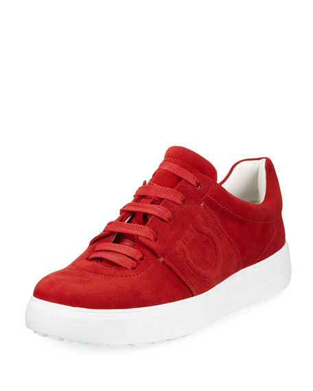 Suede Platform Sneaker with Embossed Gancio Logo, Lipstick Red