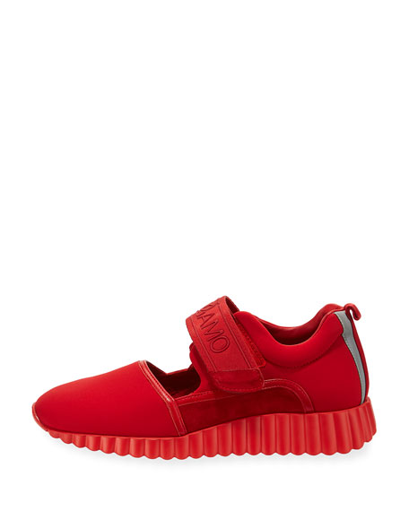 Avigna Grip-Strap Platform Sneakers, Lipstick Red