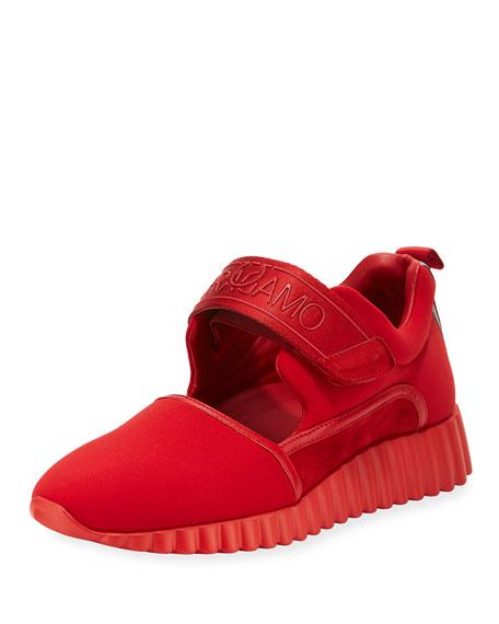 Salvatore Ferragamo Avigna Grip-Strap Platform Sneaker, Lipstick