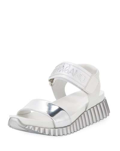 Sandal in Argento Mirrored Leather with Ferragamo Logo