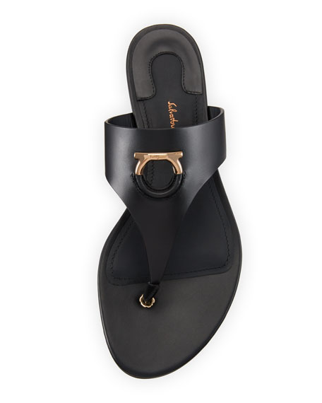 Leather Thong Sandal with Cutout Logo