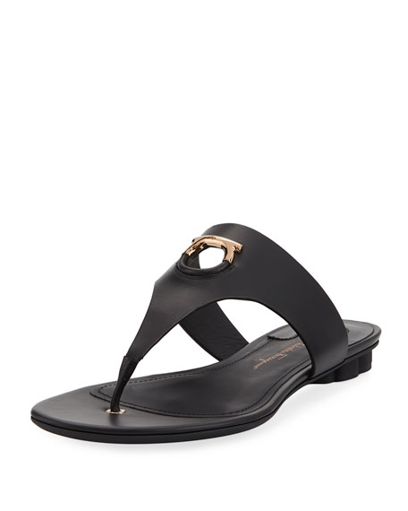 Salvatore Ferragamo Leather Thong Sandal with Cutout Logo