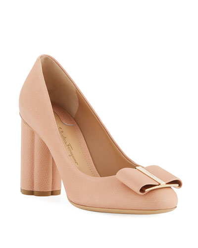 Pebbled Leather Flower-Heel 85mm Pump