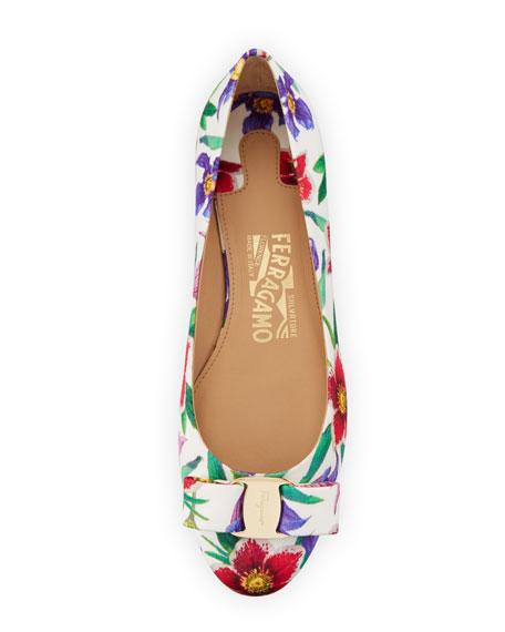 Varina 11 Floral-Print Grosgrain Ballet Flat
